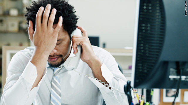 Distress and demotivated call center employee.