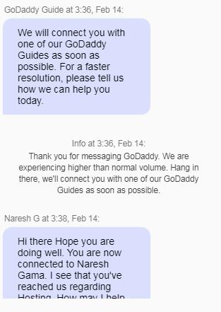 Godaddy web hosting Chat history