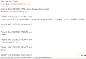 WPX hosting chat history